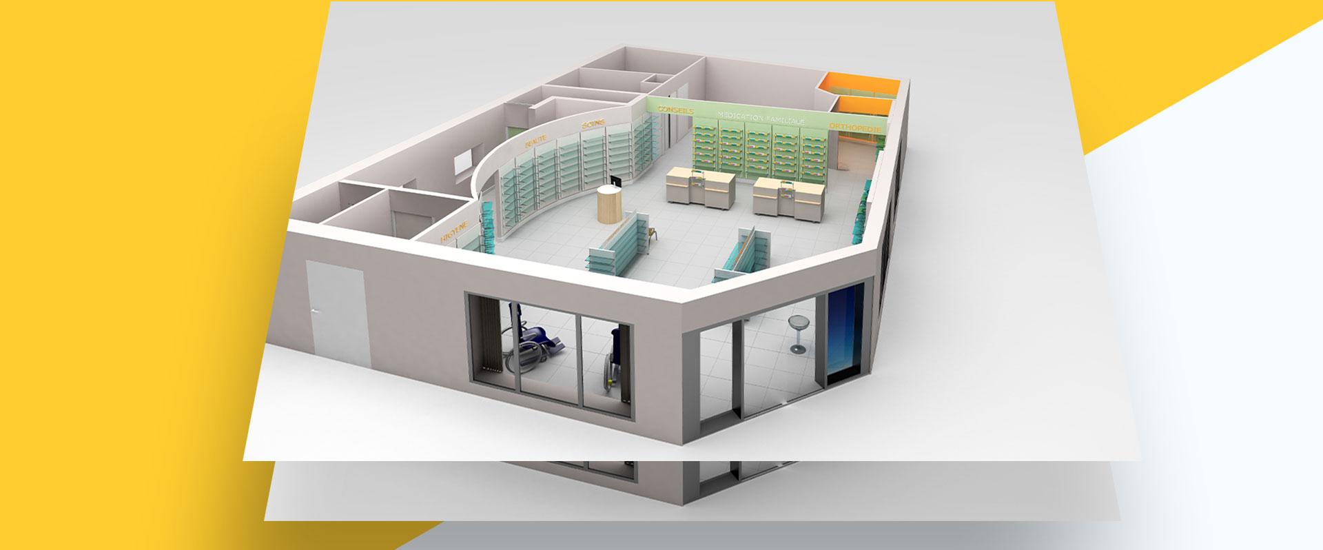 plan de masse de pharmacie en 3d